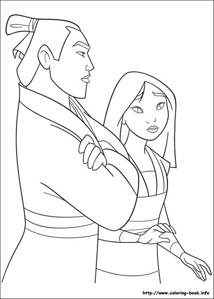 Giadinhsu.com - Tranh tô màu công chúa Mulan - Hoa mộc lan