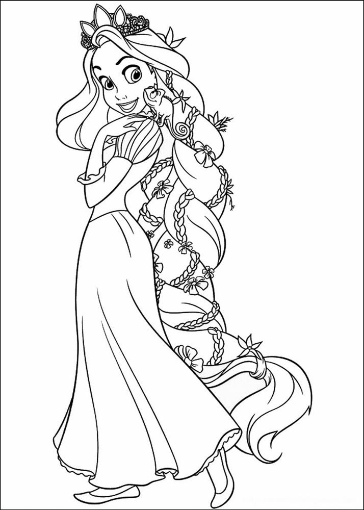 Giadinhsu.com - Tranh tô màu công chúa Rapunzel - Tóc mây
